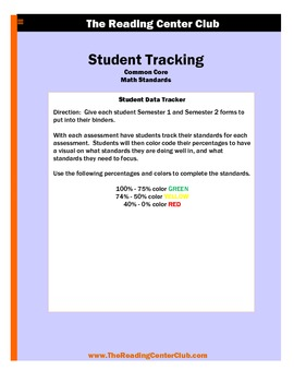 1st Grade Math Common Core Standards Student Tracking