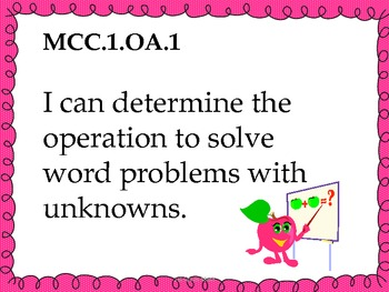 1st Grade Math Common Core Standards for Posting - Pink Theme