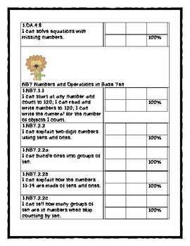 1st Grade Math Common Core Student Tracking