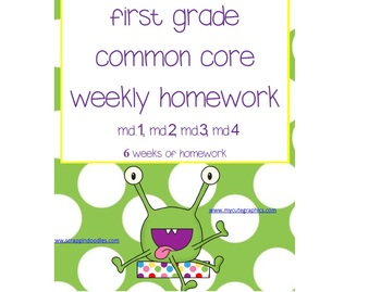 1st Grade Math Common Core Weekly Homework MD (6 Weeks of HW)