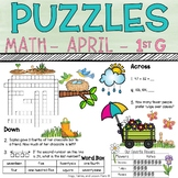 1st Grade Math Crossword Puzzles - April