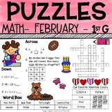 1st Grade Math Crossword Puzzles - February