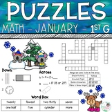 1st Grade Math Crossword Puzzles - January