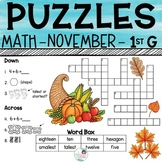 1st Grade Math Crossword Puzzles - November