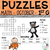 1st Grade Math Crossword Puzzles - October