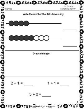 1st Grade Math Daily Spiral Review - 1st Quarter - TEKS aligned