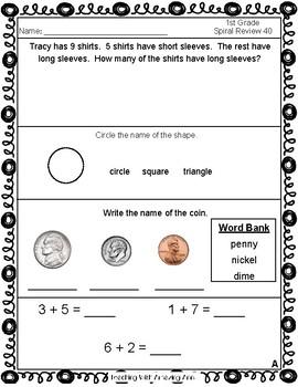 1st Grade Math Daily Spiral Review - 2nd Quarter - TEKS aligned!!