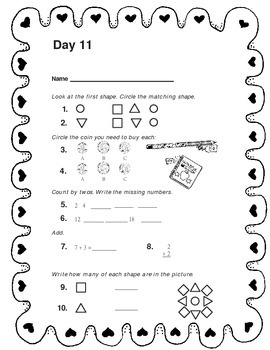1st Grade Math, Daily morning Warm Ups.  (No prep just Print)