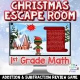 1st Grade Math Digital Christmas Escape Room   Addition an