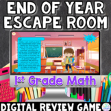 1st Grade Math Digital End of Year Review Escape Room Game