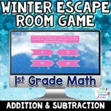 1st Grade Math Digital Winter Escape Room Game   Addition