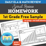 1st Grade Math & ELA Homework Free 2 Week Sample