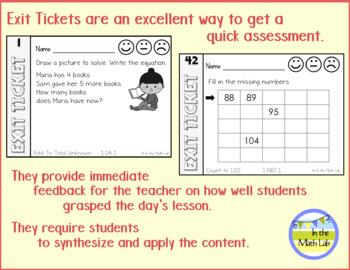 1st Grade Math Exit Tickets - BUNDLE ALL STANDARDS