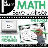 1st Grade Math Exit Tickets (Exit Slips) Bundle   Printable & Digital