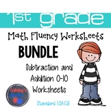 1st Grade Math Fluency Addition/Subtraction 0-10 Worksheets BUNDLE (1.OA.C.6)
