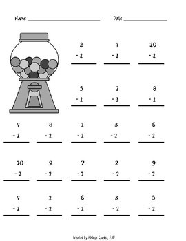 1st Grade Math Fluency Subtraction 0-10 Worksheets (1.OA.C.6)