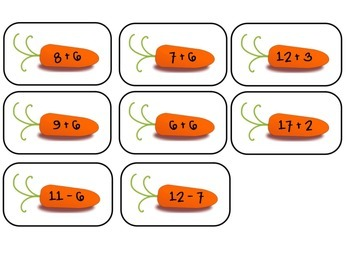 1st Grade Math Game Addition & Subtraction Equations ~ Easter / Spring Theme