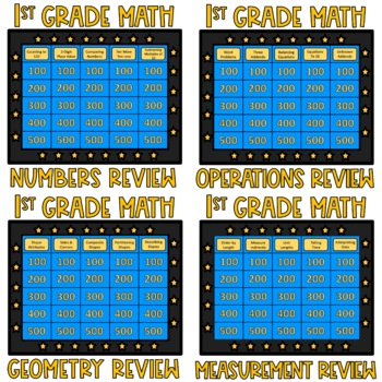 1st Grade Math Review Game Show Bundle EDITABLE