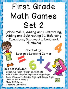 1st Grade Math Games - Set 2 - Common Core Aligned