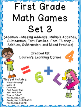 1st Grade Math Games - Set 3 - Common Core Aligned