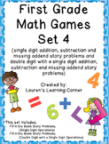 1st Grade Math Games - Set 4 - Common Core Aligned