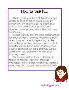 1st Grade Math Goal Sheets