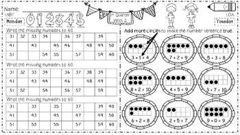 Math Homework for 1st Grade - 1st Quarter