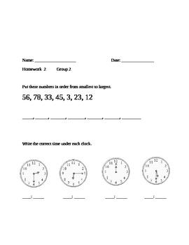 1st Grade Math Homework Pt.2