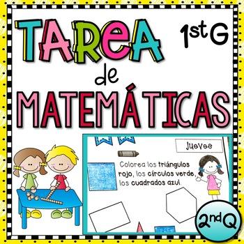 1st Grade Tarea de Matemáticas en Español - 2nd Quarter