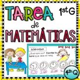 1st Grade Tarea de Matemáticas en Español - 4th Quarter
