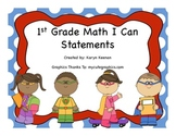 1st Grade Math I Can Statements