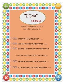 "1st Grade Math: ""I Can"" Statements"