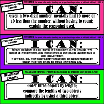 "1st Grade Math ""I Can Statements"" (Common Core Aligned)"