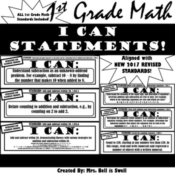 "1st Grade Math ""I Can Statements"" (Common Core Aligned) BLACK AND WHITE!"