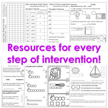 1st Grade Math Intervention Pack Measurement and Data Guided Math RTI Resources