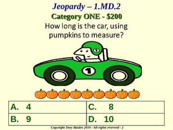 1st Grade Math Jeopardy Game -  1 MD.2 Measure lengths 1.MD.2