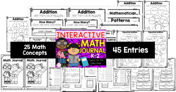 K-2 Grade Math Journal {25 Different Math Topics for the ALL Year} (TEKS & CCSS)
