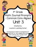 1st Grade Math Journal Prompts - Unit 3 - Investigations