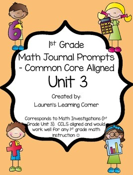 1st Grade Math Journal Prompts - Unit 3 - Investigations