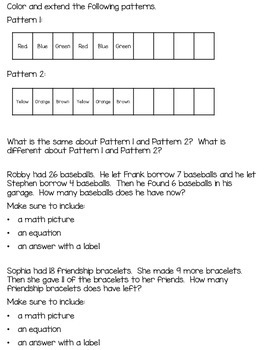 1st Grade Math Journal Prompts - Unit 7 - Investigations