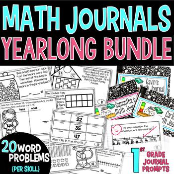 1st Grade Math Journals YEARLONG GROWING BUNDLE