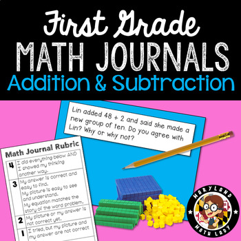 1st Grade Math Journals and Rubric - Add and Subtract Usin