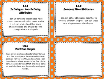 1st Grade Math Kid Friendly I CAN Statements for Common Core State Standards