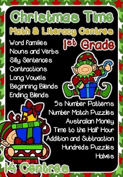 1st Grade Math & Literacy Centers - Christmas Themed