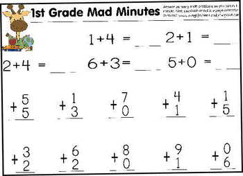 1st grade math mad minute teaching resources teachers pay teachers 1st grade math mad minues fandeluxe Gallery