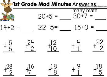 1st Grade Math ~ Mad Minues