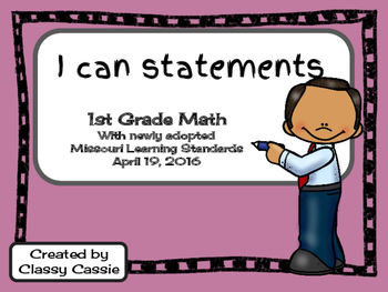 1st Grade Math Missouri Learning Standards I can Statement & Checklist