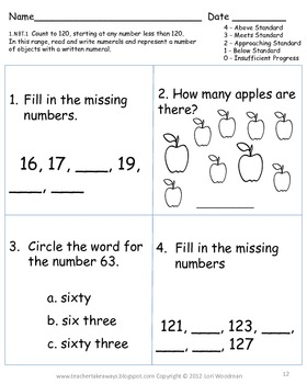 1st Grade Math NBT Place Value Common Core Assessments