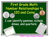 1st Grade Math Number Relationships to 120 Using Coins