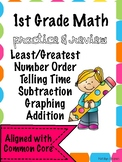 First Grade Math Skills Review Practice Bundle